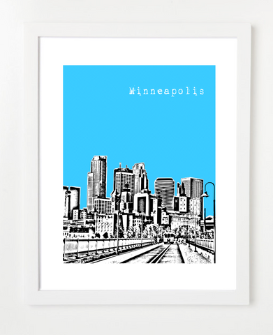Minneapolis Minnesota VERSION 2 Skyline Art Print and Poster | By BirdAve Posters