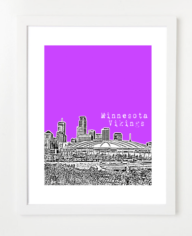 Minnesota Vikings Humphrey Metrodome Skyline Art Print and Poster | By BirdAve Posters