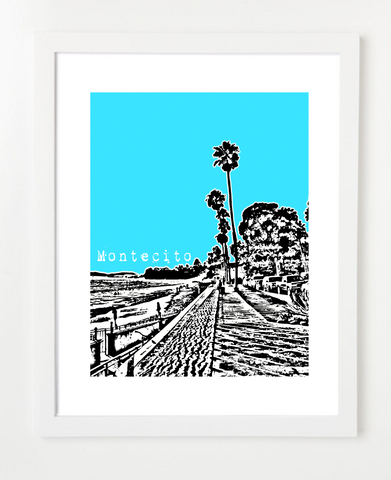 Montecito California USA Skyline Art Print and Poster | By BirdAve Posters