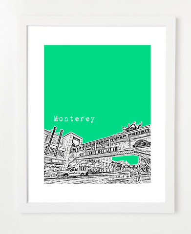 Monterey California USA Skyline Art Print and Poster | By BirdAve Posters