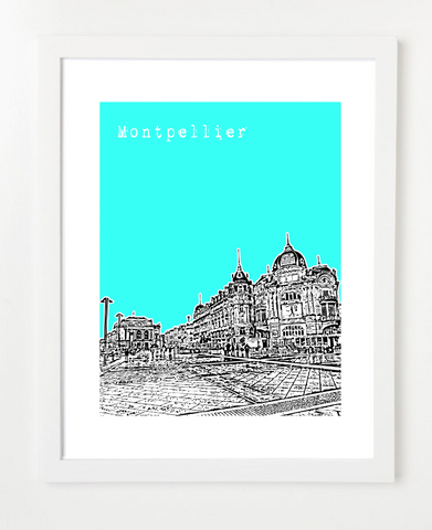 Montpellier France Europe Posters and Skyline Art Prints | By BirdAve