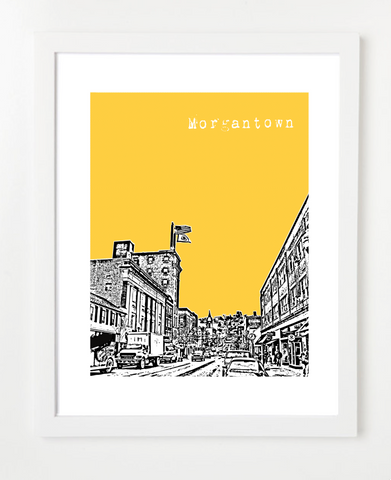 Morgantown West Virginia Skyline Art Print and Poster | By BirdAve Posters