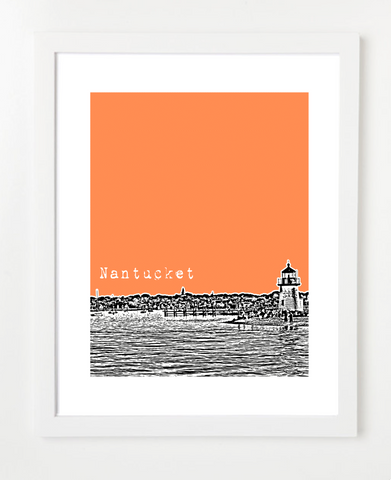 Nantucket Massachusetts Skyline Art Print and Poster | By BirdAve Posters