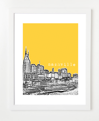 Nashville Tennessee Waterfront Skyline Art Print and Poster | By BirdAve Posters