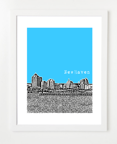 New Haven Connecticut USA Skyline Art Print and Poster | By BirdAve Posters