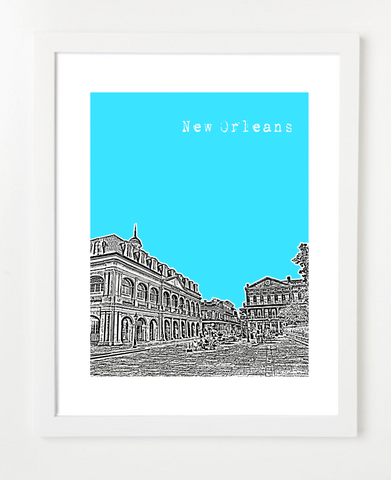 New Orleans Louisiana VERSION 2 Skyline Art Print and Poster | By BirdAve Posters
