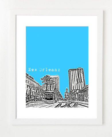 New Orleans Louisiana VERSION 1 Skyline Art Print and Poster | By BirdAve Posters