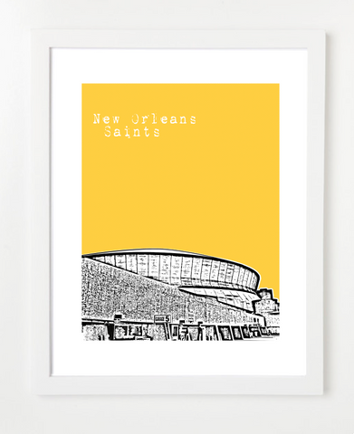 New Orleans Saints Superdome  Skyline Art Print and Poster | By BirdAve Posters