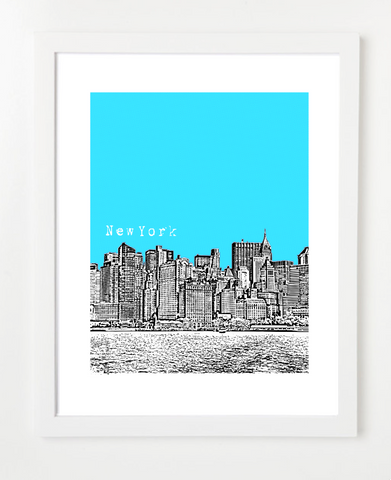 New York City Manhattan Skyline Version Skyline Art Print and Poster | By BirdAve Posters