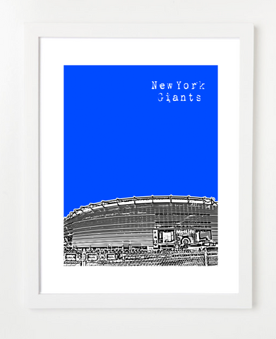 New York Giants MetLife Stadium Skyline Art Print and Poster | By BirdAve Posters