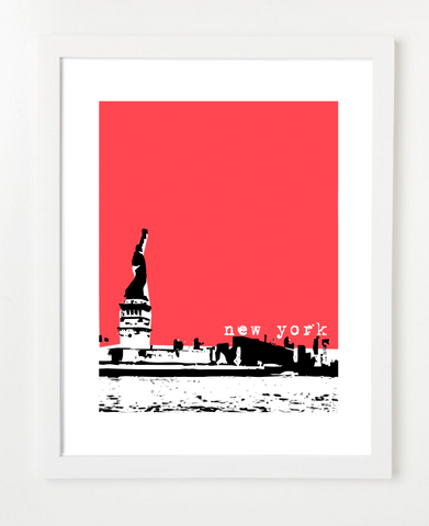New York USA Statue Of Liberty Skyline Art Print and Poster | By BirdAve Posters