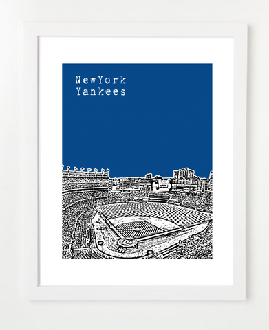 New York Yankees Yankee Stadium Skyline Art Print and Poster | By BirdAve Posters