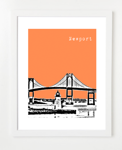Newport Rhode Island Skyline Art Print and Poster | By BirdAve Posters
