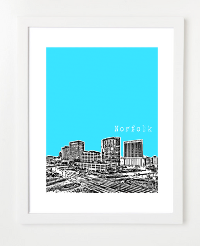 Norfolk Virginia Downtown Skyline Art Print and Poster | By BirdAve Posters