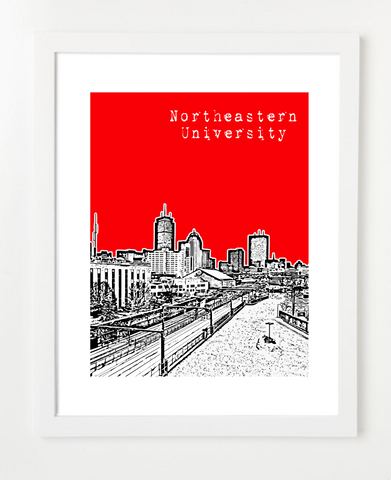 Northeastern University Massachusetts Posters and Skyline Art Prints | By BirdAve