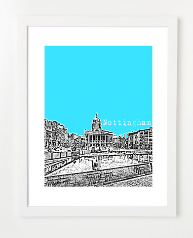 Nottingham England Europe Posters and Skyline Art Prints | By BirdAve