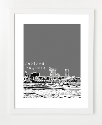 Oakland Raiders O.co Coliseum Skyline Art Print and Poster | By BirdAve Posters