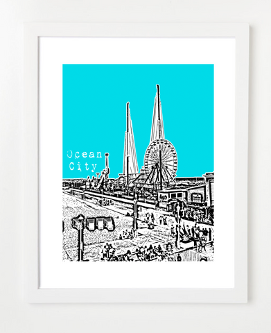Ocean City Maryland Skyline Art Print and Poster | By BirdAve Posters