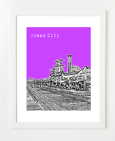 Ocean City New Jersey Skyline Art Print and Poster | By BirdAve Posters
