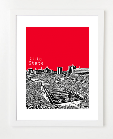 Ohio State Buckeyes Skyline Art Print and Poster | By BirdAve Posters