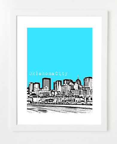 Oklahoma City Oklahoma Skyline Art Print and Poster | By BirdAve Posters