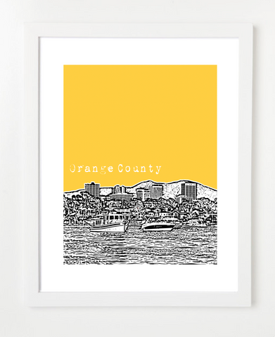 Orange County California Skyline Art Print and Poster | By BirdAve Posters
