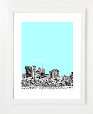 Orlando Florida USA Skyline Art Print and Poster | By BirdAve Posters