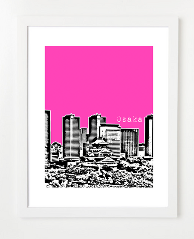 Osaka Japan Asia VERSION 1 Posters and Skyline Art Prints | By BirdAve