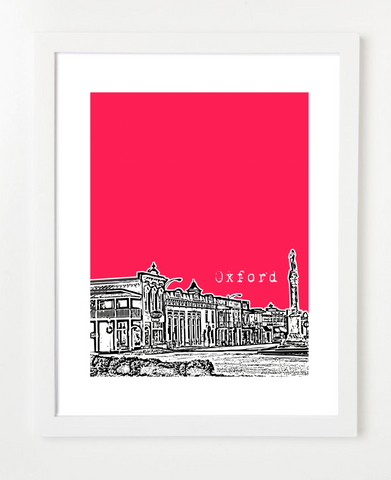 Oxford Mississippi University of Mississippi Skyline Art Print and Poster | By BirdAve Posters