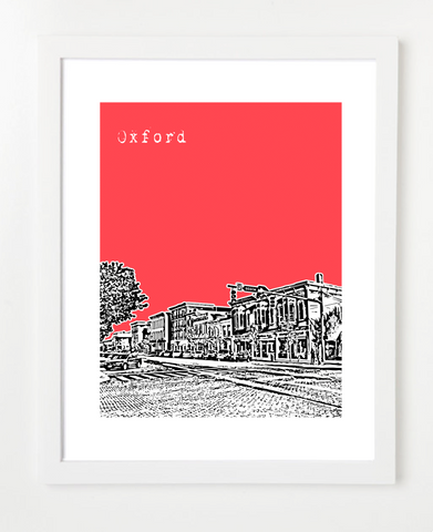 Oxford Ohio Skyline Art Print and Poster | By BirdAve Posters