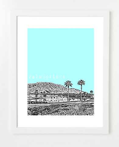 Palm Springs California USA Skyline Art Print and Poster | By BirdAve Posters