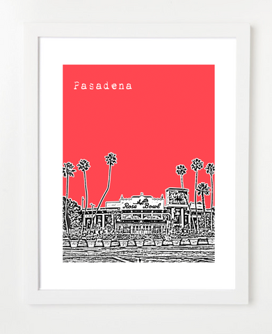 Pasadena California USA Skyline Art Print and Poster | By BirdAve Posters