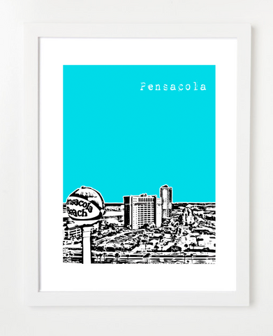 Pensacola Florida Skyline Art Print and Poster | By BirdAve Posters