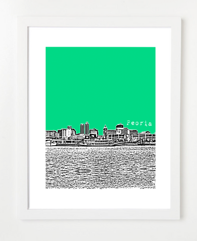 Peoria Illinois Skyline Art Print and Poster | By BirdAve Posters