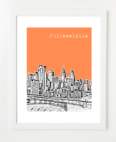 Philadelphia Pennsylvania Downtown Skyline Art Print and Poster | By BirdAve Posters