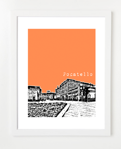 Pocatello Idaho Skyline Art Print and Poster | By BirdAve Posters