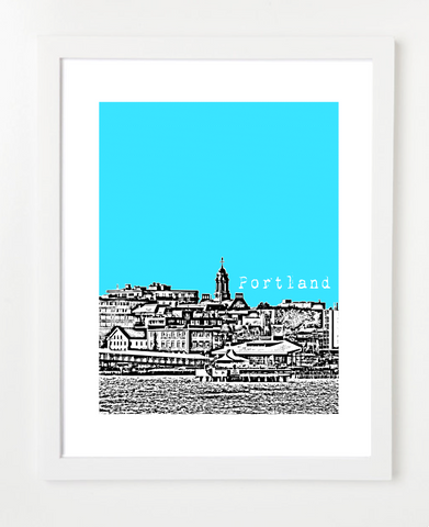 Portland Maine Skyline Art Print and Poster | By BirdAve Posters