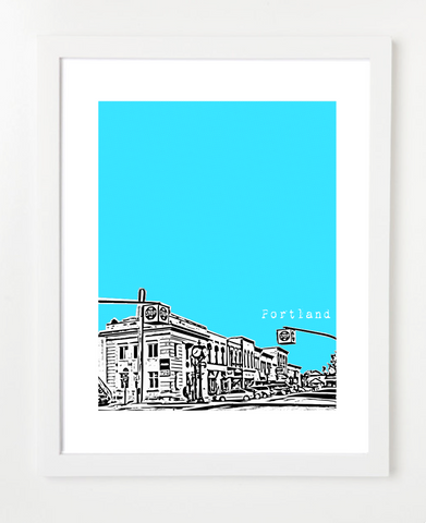 Portland Michigan Skyline Art Print and Poster | By BirdAve Posters