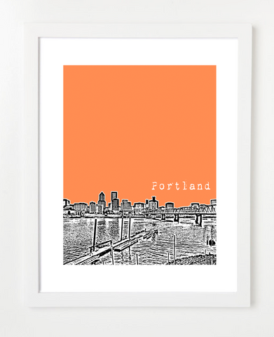 Portland Oregon Downtown Skyline Art Print and Poster | By BirdAve Posters