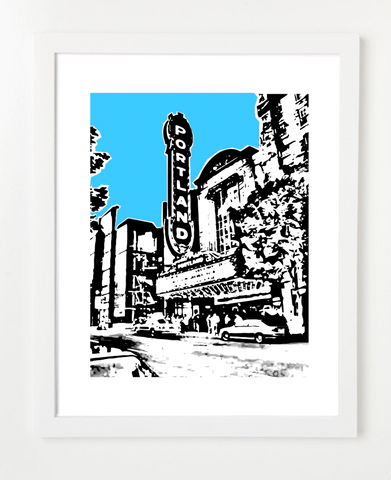 Portland Oregon Arlene Schnitzer Hall Skyline Art Print and Poster | By BirdAve Posters