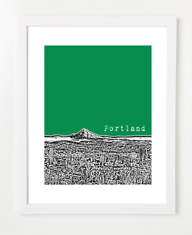 Portland Oregon Mt. Hood Skyline Art Print and Poster | By BirdAve Posters