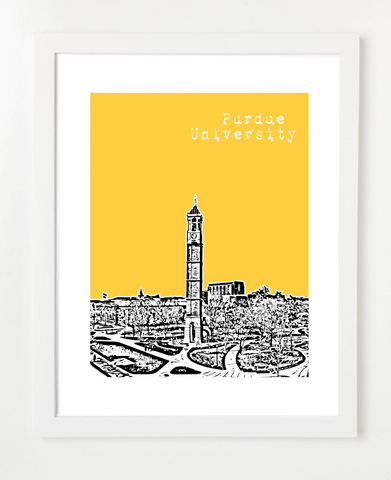 West Lafayette Indiana Purdue University Skyline Art Print and Poster | By BirdAve Posters