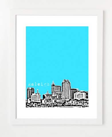Raleigh North Carolina USA Skyline Art Print and Poster | By BirdAve Posters