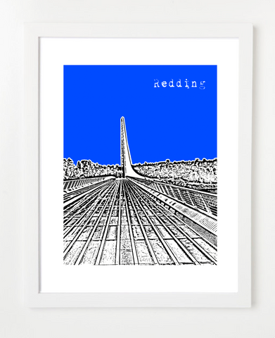 Redding California USA Skyline Art Print and Poster | By BirdAve Posters
