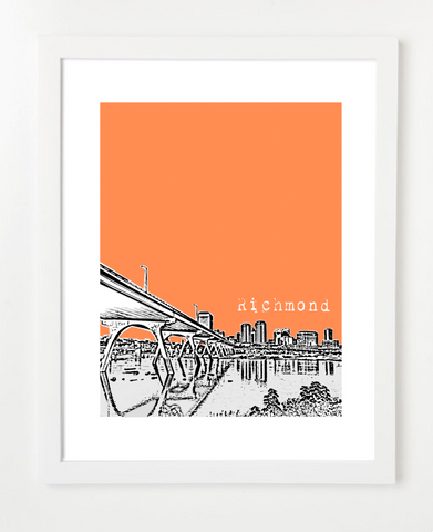 Richmond Virginia Mayo Bridge Skyline Art Print and Poster | By BirdAve Posters