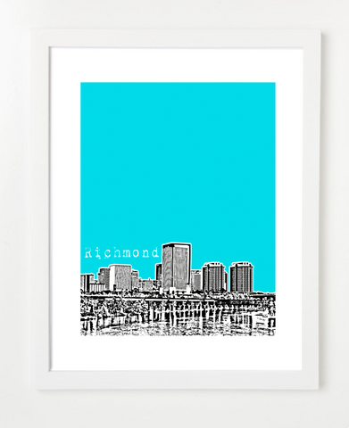 Richmond Virginia Downtown Skyline Art Print and Poster | By BirdAve Posters