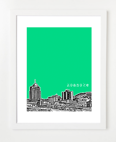 Roanoke Virginia Skyline Art Print and Poster | By BirdAve Posters