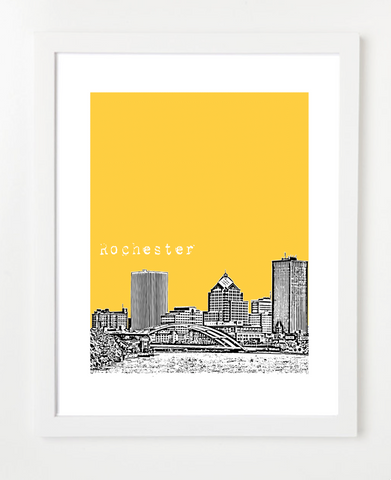 Rochester New York USA Skyline Art Print and Poster | By BirdAve Posters