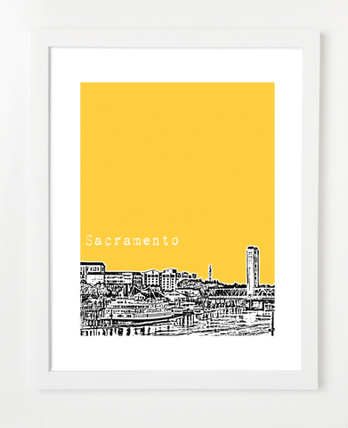Sacramento California USA Skyline Art Print and Poster | By BirdAve Posters