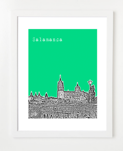 Salamanca Spain Europe Posters and Skyline Art Prints | By BirdAve